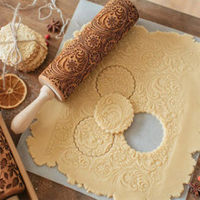 Christmas Elk Snowflake Wooden Rolling Pin High Quality Noodle Biscuit Fondant Cake Dough Cookies Baking Dough Patterned Roller