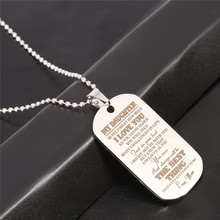 Fashion Pendant Necklace Family Jewelry To My Son Daughter We Love You Love Dad Mom Necklace Military Army Cards