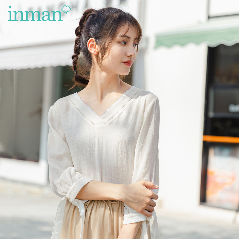 INMAN 2020 Summer New Arrival V-neck Elegant Lace-up Cuff Bowknot Sweet Literary Blouse