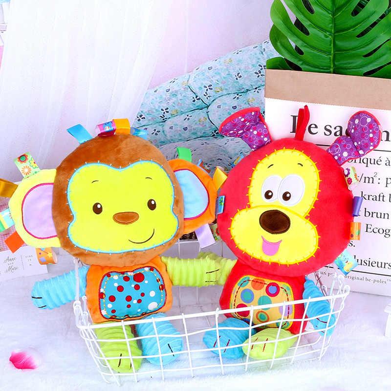 Детские плюшевые игрушки Погремушки для малышей, соска, Подарочная Рождественская Кукла Newbron, ручные колокольчики, 7 видов стилей, животные, слон, кролик, лев, собака