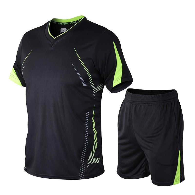 New Summer Sport Suit Men Fashion Sets Fitness Suit Short-Sleeve Tracksuit Male Sportswear Two-piece Sets Asian Size M-5XL