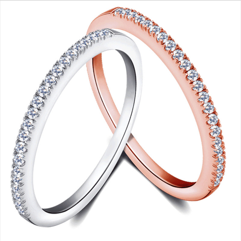 Simple Cubic Zirconia Thin Rings for Woman Elegant Rose Gold color Bridal wedding Party Finger Jewelry girl Gift 2