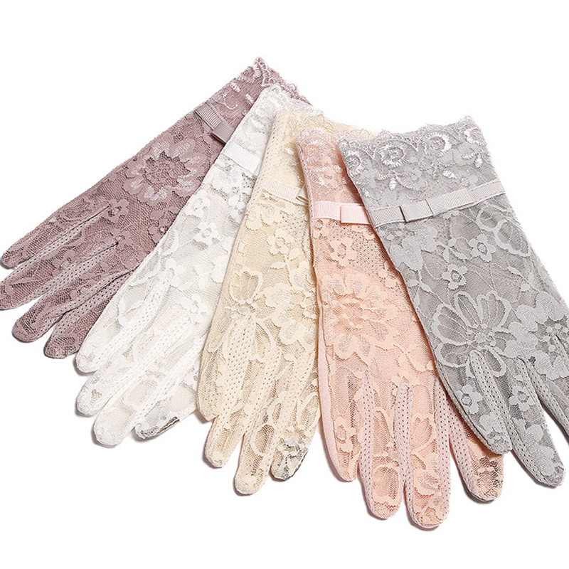 Summer Women Short Sunscreen UV Anti Slip Driving Lace Gloves Full Finger Sun Spring Touch Screen Ladies Bow Dress Gloves White