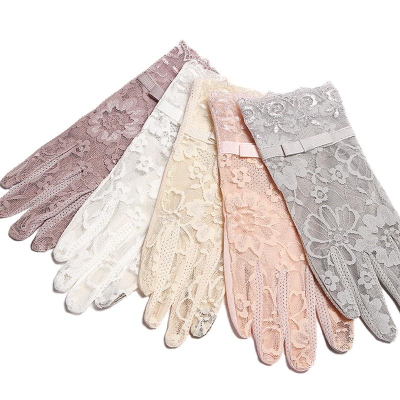 Summer Women Short Sunscreen UV Anti Slip Driving Lace Gloves Full Finger Sun Spring Touch Screen Ladies Bow Dress Gloves White