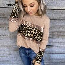 Women Elegant Leopard Print Sequin Glitter Blouse Shirt 2020
