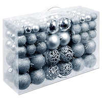 100Pcs/Box Christmas Ball Box Set Available Lightweight Holiday Christmas Tree Ornament Decorations Silver