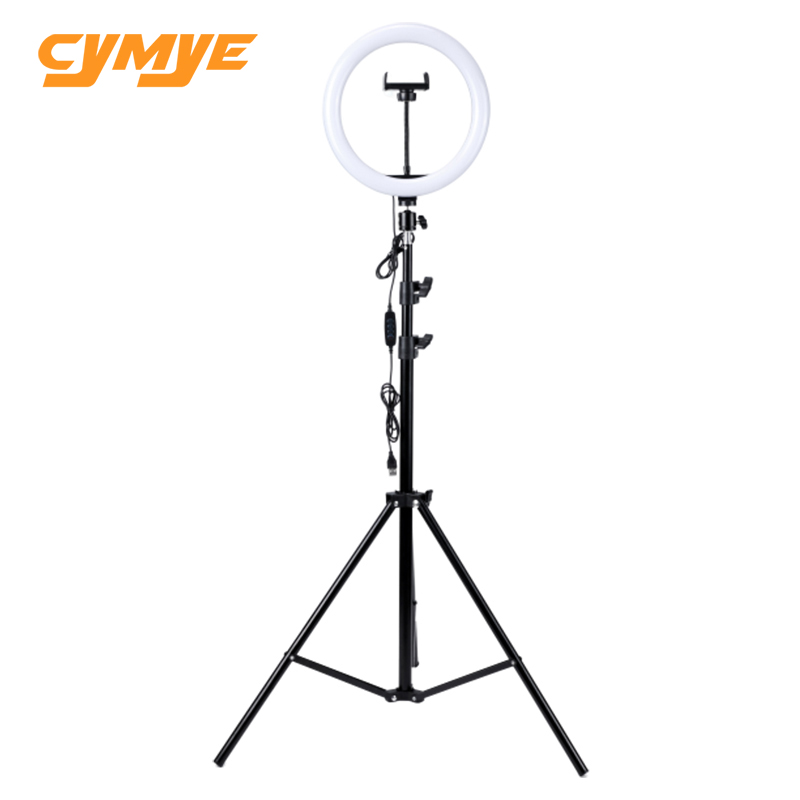 Cymye ring light 10 inch Bicolor Dimmable ring lamp with 2.1 meter tripod for Photographic Lighting