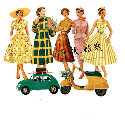 20PCS Retro Fashion Lady Paper Stickers Crafts And Scrapbooking Stickers Book Decorative Sticker DIY Stationery