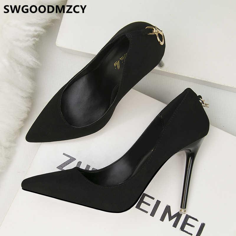 Scarpe da donna di lusso stiletto sexy degli alti talloni pattini di vestito delle donne estremo tacchi alti pompe nero scarpe da sera fetish tacchi alti