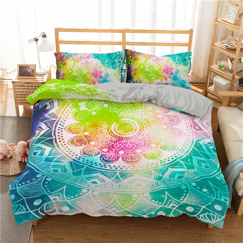 ZEIMON Bohemian Mandala Printed 3D Bedding Set Colorful Duvet Cover With Pillwocase Sing Queen King Size Bed Set For Home Decor