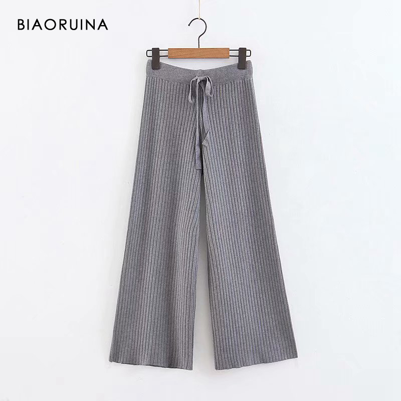 BIAORUINA 4 Color Women's Solid Color Elegant Knit   Wide     Leg     Pant   Ankle Length Elastic High Waist Ladies Fashion   Pant   Trouser