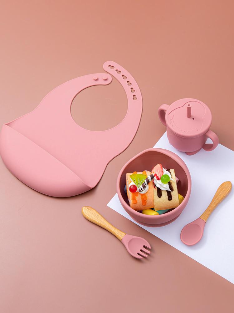 5Pcs/1Set Silicone Baby Feeding Bowl Tableware Waterproof Spoon Non-Slip Crockery BPA