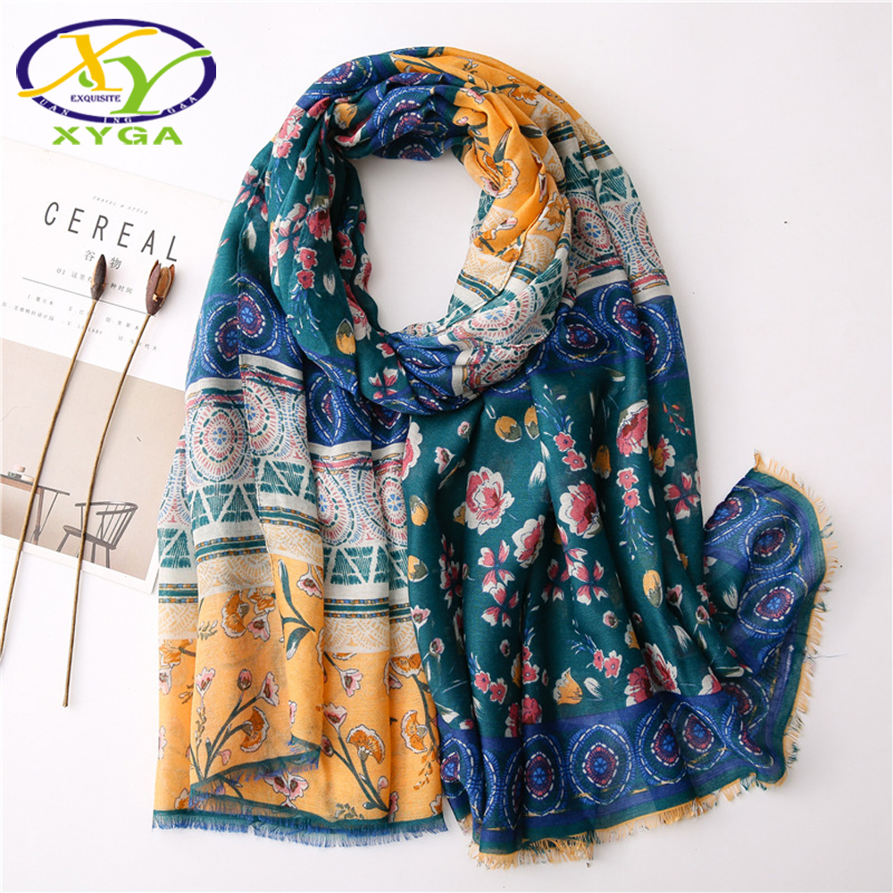 Cotton Woman Scarfs Soft Flower Printed Spring Ladies Long Beach Shawls Thin Summer Female Wraps Autumn Muslim Head Scarves
