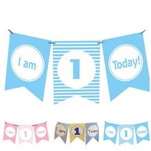 Jestem 1 dzisiaj papier banerowy piękne urodziny chorągiewki roczne dziewczynki pierwsze urodziny chłopiec zdjęcie z imprezy rekwizyty dekoracji tanie tanio houseeker CN (pochodzenie) Banery RA071 Paper Children s Day Birthday Party Party stripe blue blue pink I am 1 today baby boy and girl