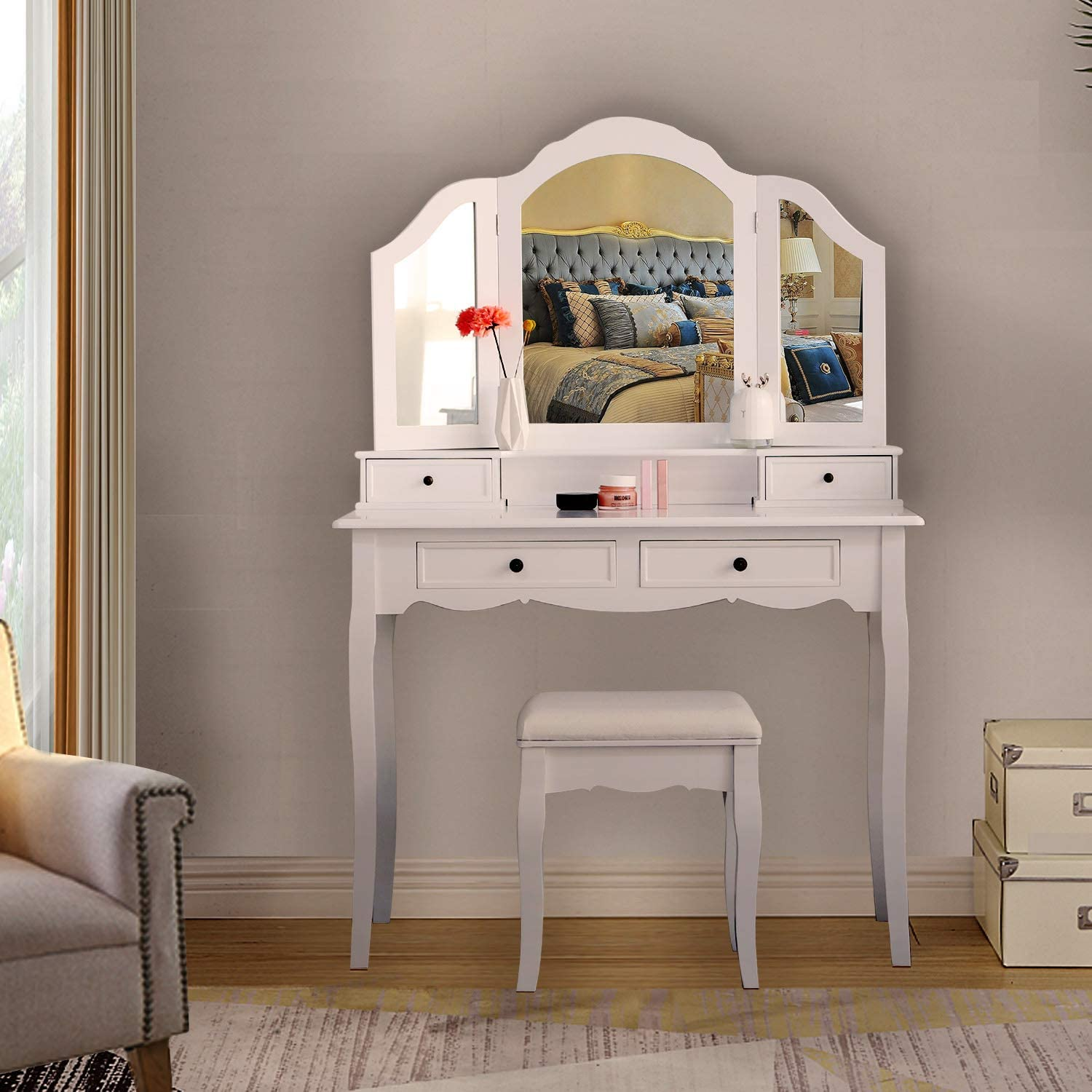 Dressing Table For Cosmetic Makeup With 3 Mirrors 4 Drawers And Stool Bedroom Makeup Set Table Bedroom Furniture Chair