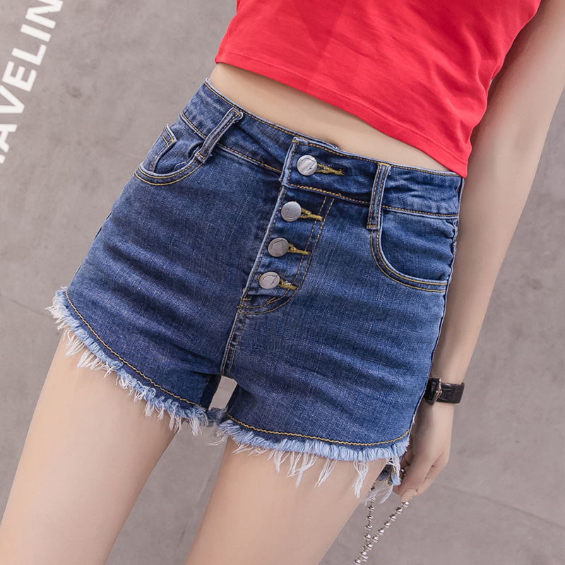 2019 New Style Fashion A- Line Denim Shorts 4-Button Irregular Trousers Fashion Hot Pants Women's