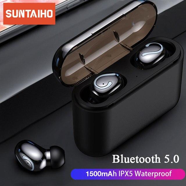 Bluetooth 5.0 fones de ouvido sem fio tws blutooth fone à prova dwaterproof água com cancelamento ruído esportes fones de ouvido jogos