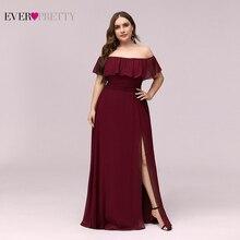 בתוספת גודל סירת צוואר ורוד קו שושבינה שמלות Vestidos De Madrinha אי פעם די EP00968 לבוש הרשמי לחתונה המפלגה 2020