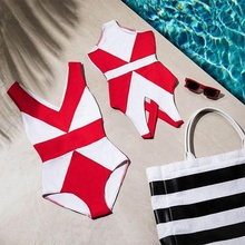 Mother Daughter Matching Geometric Swimwear