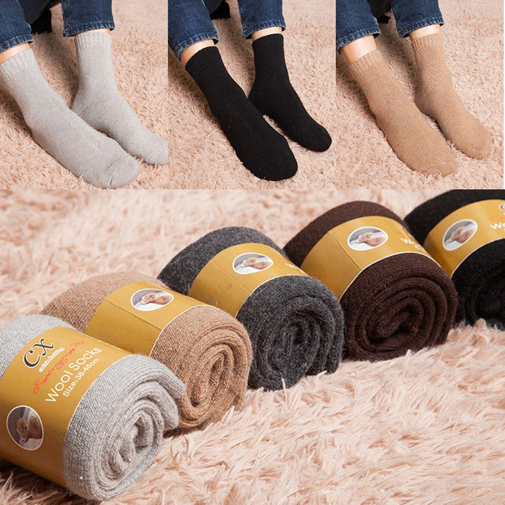 2019 New Mens Super Thicker Solid Socks Wool Thermal Boot Socks Winter Walking Hiking Ski Against Cold Snow Socks