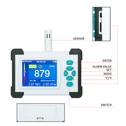 Carbon Dioxide Detector CO2 Meter Tester Air Quality Detector with Storage Case co2 detector co2 sensor monitor