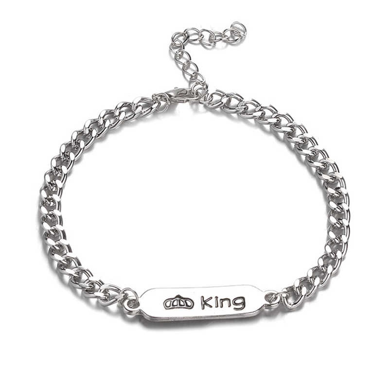 1pc Trendy King Queen Stainless Steel Couple Bracelet For Women Men Bangles Jewelry Unique Gift For Lover