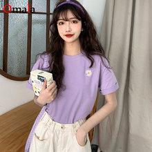 Verão nova mulher t-shirts casual harajuku sol flor bordado topos t camisa básica feminina de manga curta simples roxo t camisa