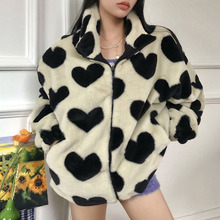 Coat Women Jacket Faux-Fur Long-Sleeve Heart-Pattern Warm Autumn Plus-Size Winter Fashion