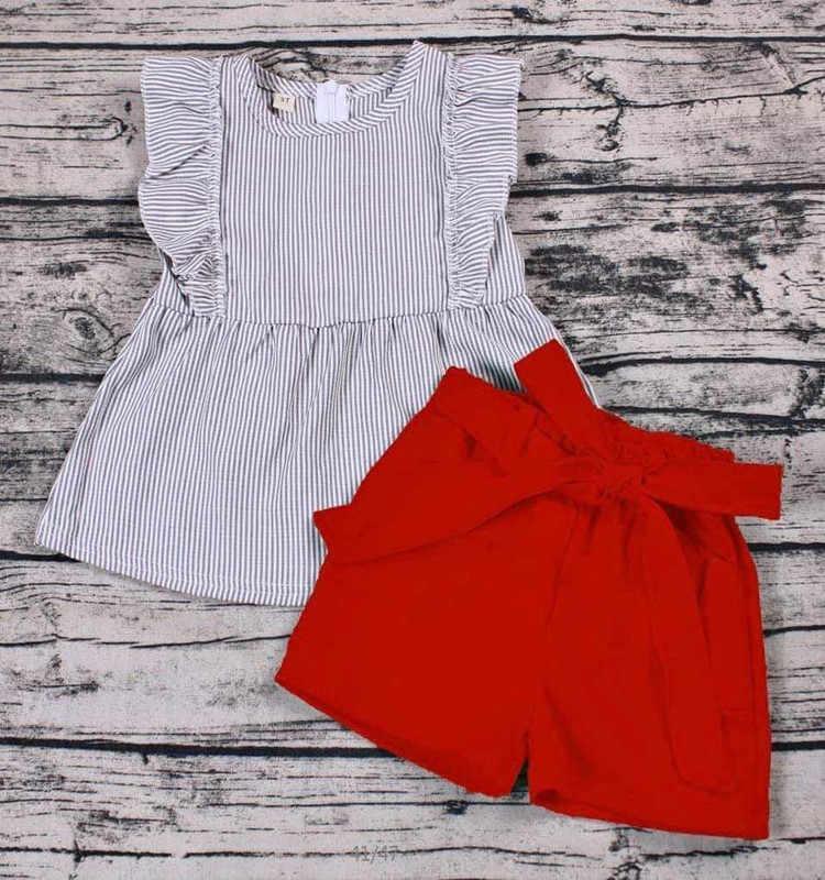 Sveglio di estate bambini set le ragazze abiti con archi solido pantaloncini rossi tessuto top