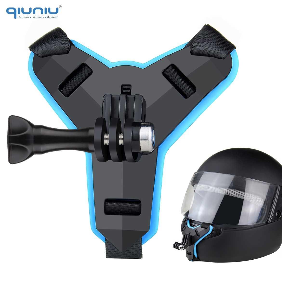QIUNIU kask motocyklowy przedni uchwyt podbródka stały pasek uchwyt na GoPro Hero 9 8 7 5 4 3 dla DJI OSMO Action Accessory
