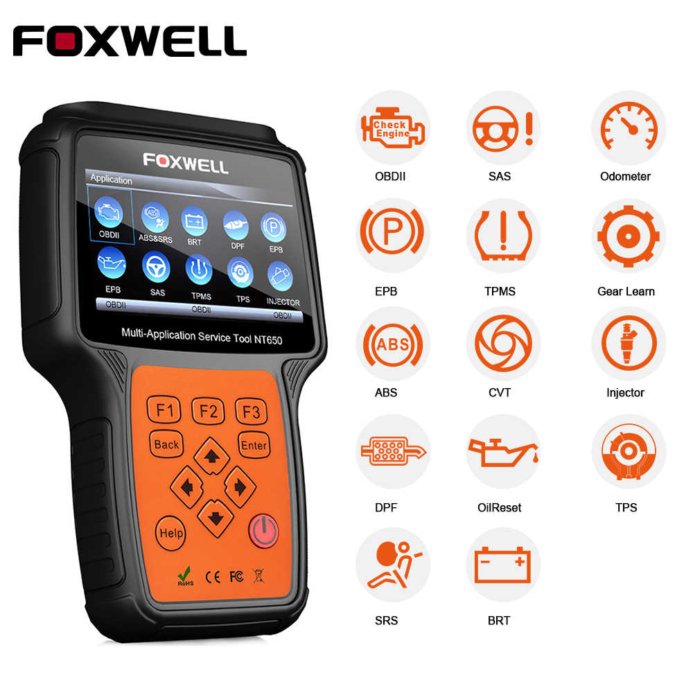 Foxwell NT650 Obd 2 Auto Tool Automotive Scanner Code Reader Sas Dpf Injector Brt Olie 13 Reset Service Obd OBD2 diagnostic Tool