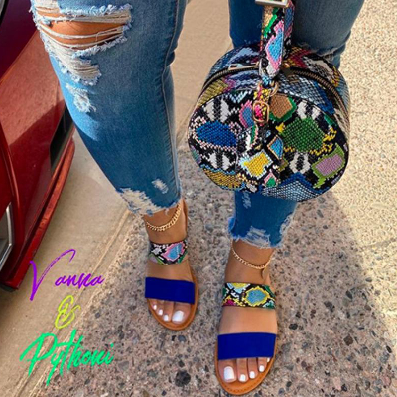 2020 Women Sandals Snakeskin slippersLadies Summer Shoes Comfortable Toe Ankle Hollow Sandals Flat Sandals Serpentine Sandalias