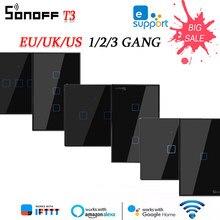 SONOFF – interrupteur mural intelligent T3 TX Wifi, Module relais sans fil, contrôle de maison intelligente Via Ewelink/RF433, fonctionne avec Alexa Google Home