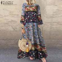 ZANZEA Women Dress Vintage Floral Printed Sundress Robe 3/4 Sleeve Party Dresses Autumn Bohemian Long Vestido Cotton Linen Dress
