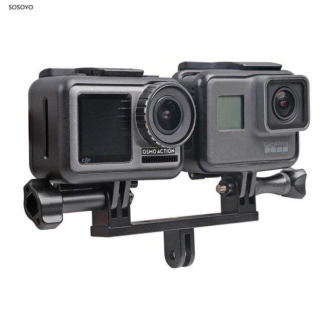 Gopro hero 8 7 6 5 xiaomi yi dji osmo 액션 카메라 용 스크류 마운트 어댑터가있는 금속 이중 이중 브래킷 삼각대 홀더 핸들