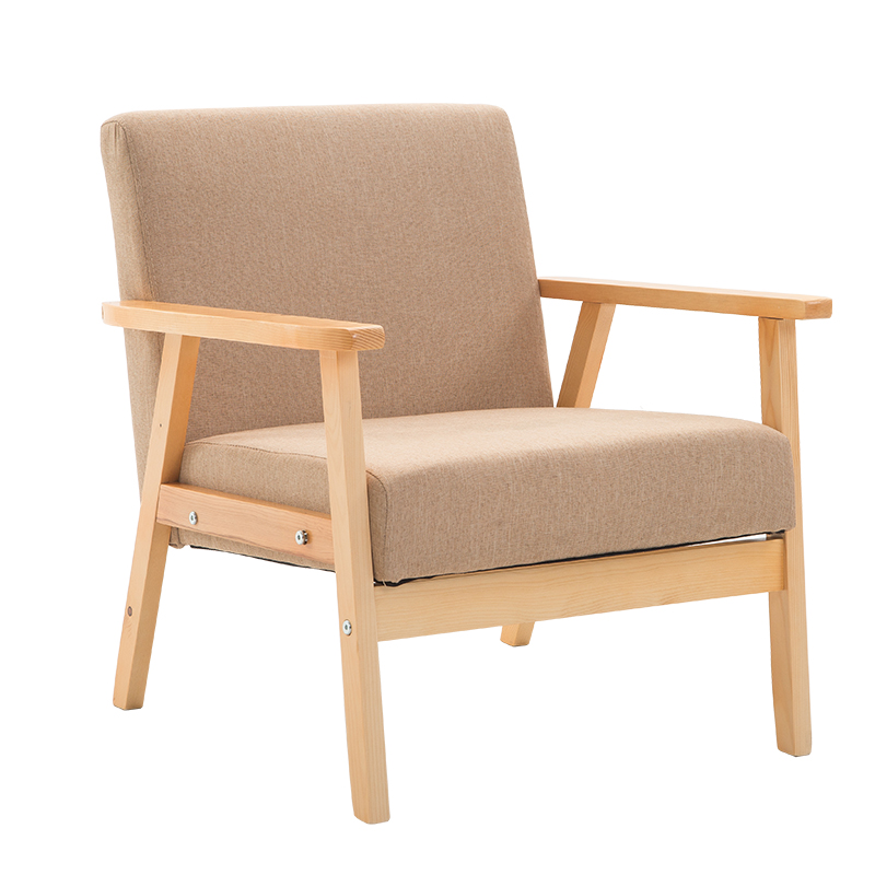Simple Modern Leisure Solid Wood Sofa Single Bedroom Small Household Living Room Chair In Northern Europe