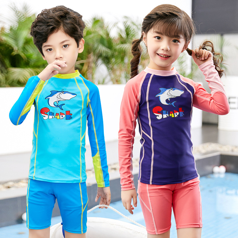 Hao Gay 2019 New Style Creative KID'S Swimwear Girls Diving Suit Korean-style Set Split Type Short Long Sleeve Big Boy