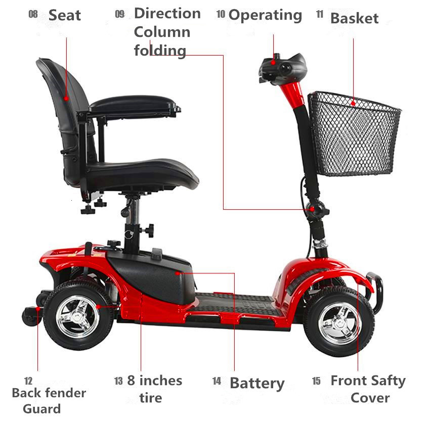 Four Wheels Electric Scooter Electric Scooters 24V 250W 8 Inch Portable Disabled Electric Elderly Scooter (10)