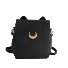 Summer  Moon Ladies Backpack Handbag Black Luna Cat Fashion Shoulder Bag PU Leather Women Fold Crossbody Small Bag