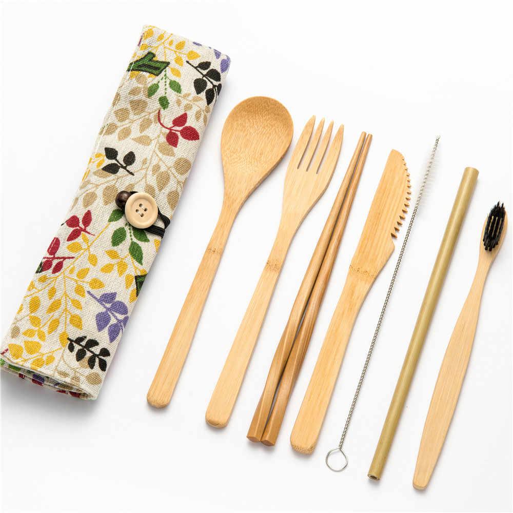 Servies Set Draagbare Bamboe Bestek Keuken Voedsel Houten Servies Eetkamer Tool Catering Servies Set Bestek Reizen