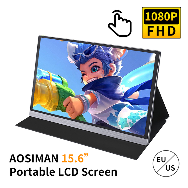 AOSIMAN 16.7 Million Colors Gaming Monitor 15.6inch 1080P LCD Touch Portable Screen 47% NSTC Portable IPS Panel Fast Response