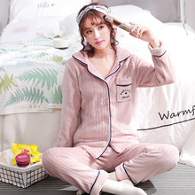 2019 Autumn Winter Pyjamas Sets Women  pajamas Sleepwear Suit Thick Warm Coral lingerie winter velvet XL female cardigan