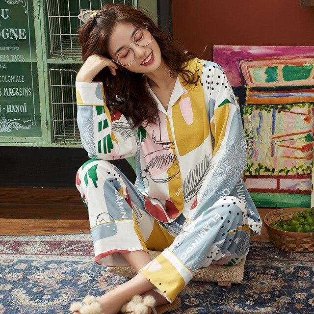 BZEL Hot البيع الخريف الشتاء ملابس خاصة القطن السيدات منامة مجموعة طويلة الأكمام المقالي داخلية جميلة ملابس النوم بيجامة M 4XL