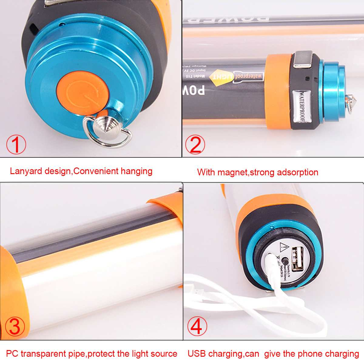 Outdoor Magnet Design USB Charge Portable Tent Light Camping Hanging LED Lamp