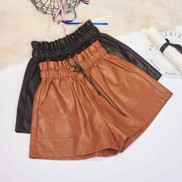 Women PU Leather Shorts Elastic High Waist Wide Leg Short Pants Plus Size Autumn Winter Outerwear Woman Shorts DV260