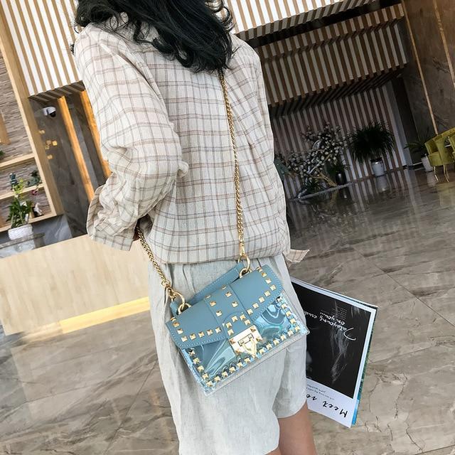 2020 TINYAT Women Shoulder Bag Transparent Women Bag Girl Fashion Rivet Crossbody Bag Pack Female Messenger Bag 4
