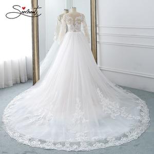 Image 2 - BAZIIINGAAA Hochzeit Kleid Ärmelloses Rundhals Abnehmbare Schwanz Hochzeit Kleid Meerjungfrau Spitze Applique Braut Unterstützung Tailor made