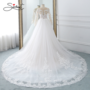 Image 2 - BAZIIINGAAA  Wedding Dress Sleeveless Round Neck Detachable Tail Wedding Dress Mermaid Lace Applique Bride Support Tailor made