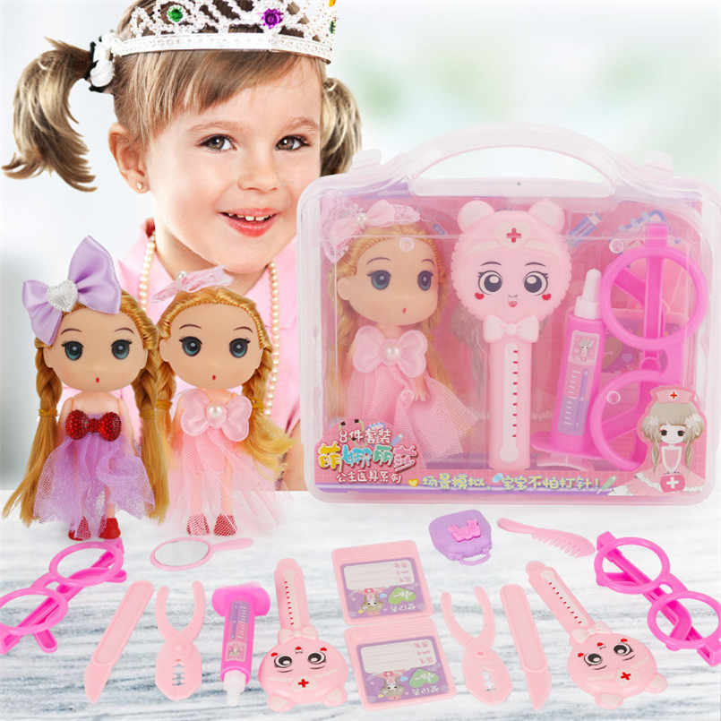 Baby Pretend Play Make Up Speelgoed Voor Meisjes Prinses Kapsel Pop Cosmetische Make-Up Set Diy Dress Up Speelhuis Arts kind Speelgoed