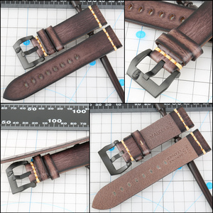 Image 2 - MAIKES skórzany pasek do zegarków Vintage włoski pasek ze skóry bydlęcej 20mm 22mm 24mm do paska zegarka Panerai Citizen SEIKO